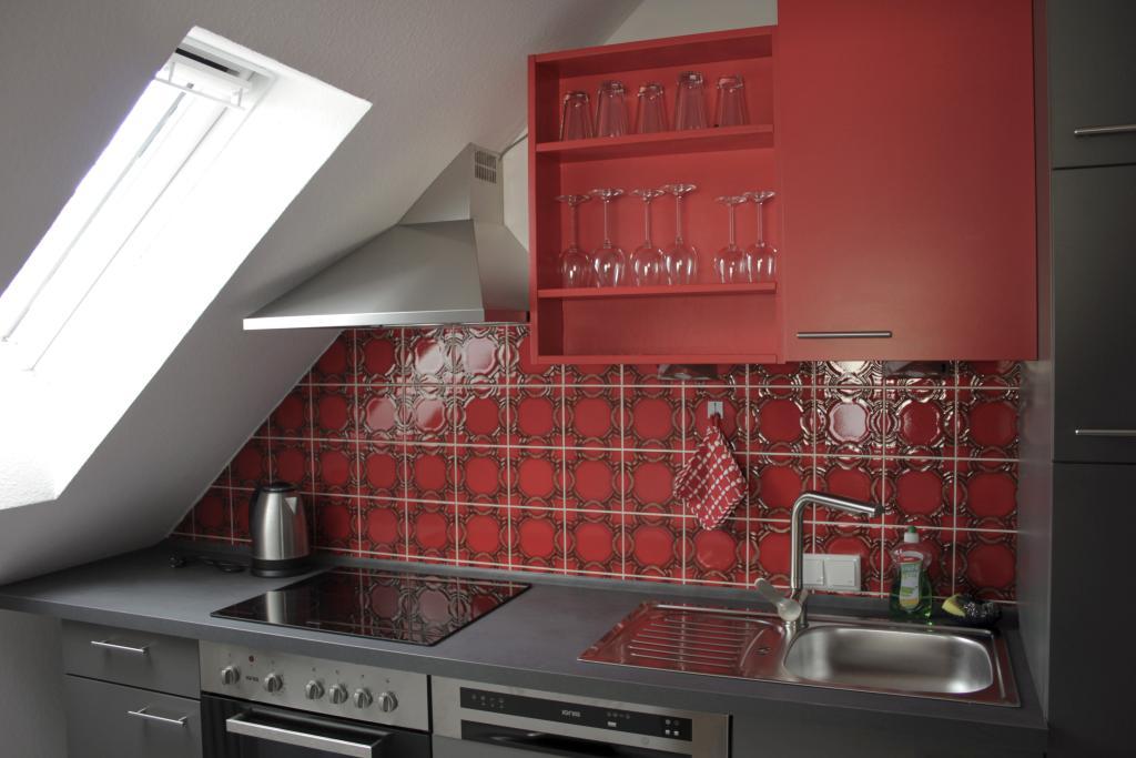 Blick in die Küche der Ferienwohnung